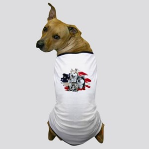 America flag Husky Dog T-Shirt
