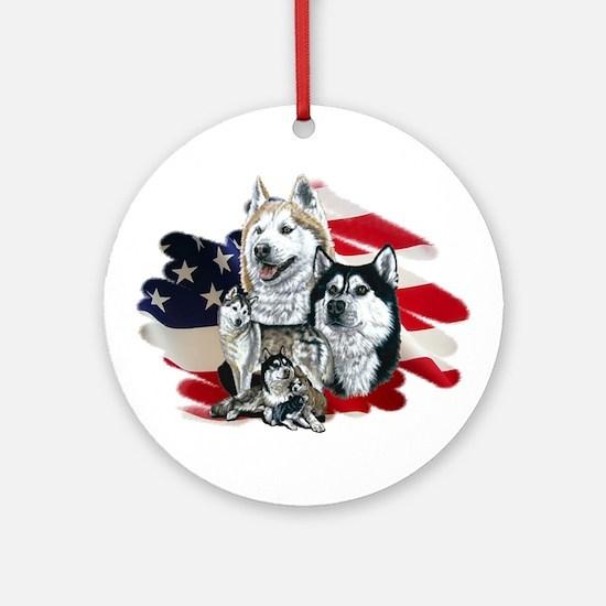 America flag Husky Ornament (Round)