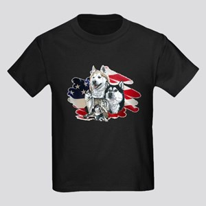 America flag Husky Kids Dark T-Shirt