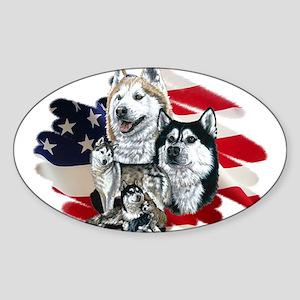 America flag Husky Oval Sticker