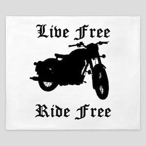 Live Free Ride Free Motorcycle King Duvet