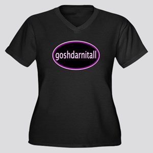 Goshdarnitall Women's Plus Size V-Neck Dark T-Shir