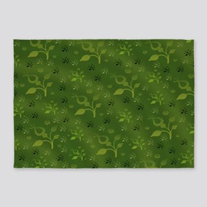 Green floral mix 5'x7'Area Rug