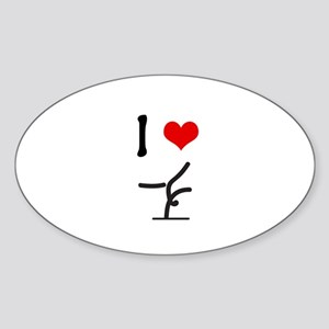 I love Gymnastics Oval Sticker