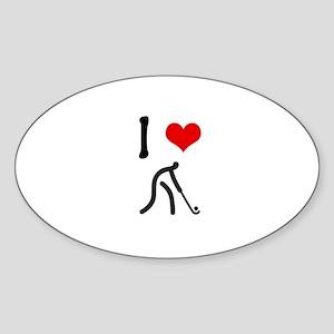 I love Hockey Oval Sticker