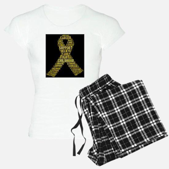 Childhood Cancer Word Shape Pajamas