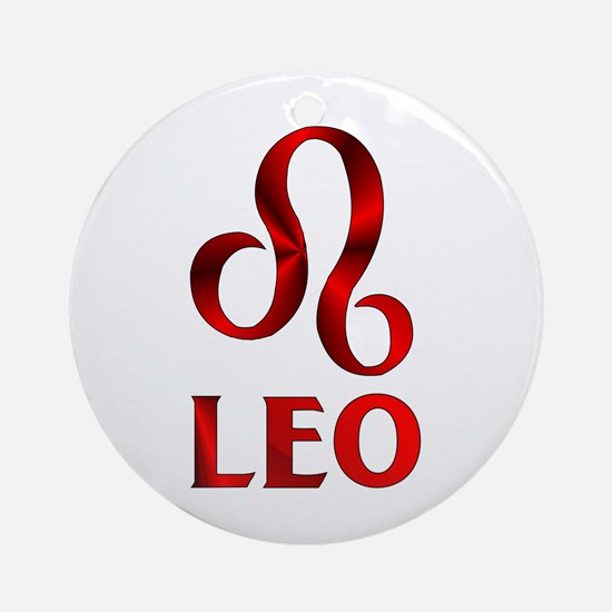 Red Leo Astrological Symbol Ornament (Round)