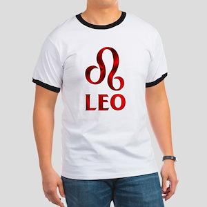 Red Leo Astrological Symbol Ringer T