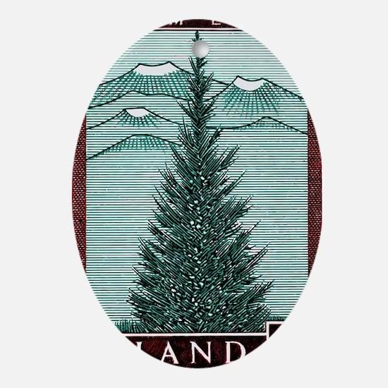Vintage 1957 Iceland Spruce Tree Pos Oval Ornament