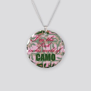 Pink Camo Necklace Circle Charm