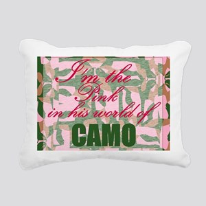 Pink Camo Rectangular Canvas Pillow