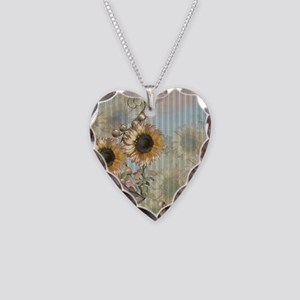 Country Sunflowers Necklace Heart Charm