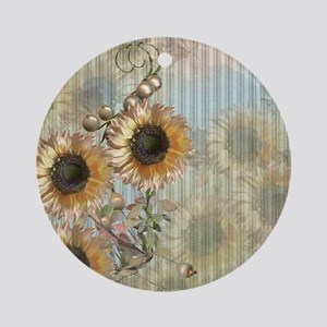 Country Sunflowers Round Ornament