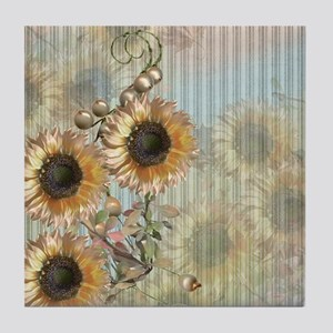 Country Sunflowers Tile Coaster
