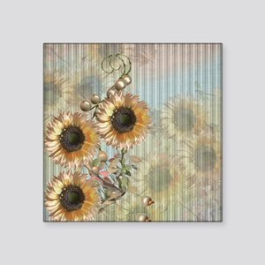 "Country Sunflowers Square Sticker 3"" x 3"""