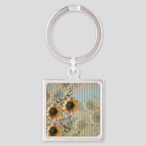 Country Sunflowers Square Keychain