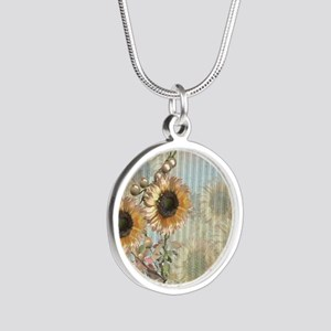 Country Sunflowers Silver Round Necklace
