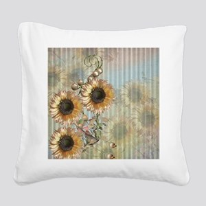 Country Sunflowers Square Canvas Pillow