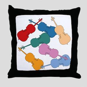 Colorful Cellos Throw Pillow