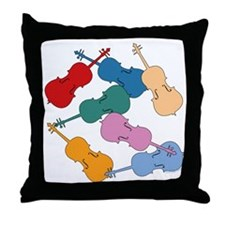 Colorful Cellos Throw Pillow
