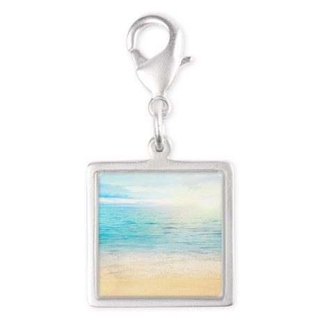 Beautiful Beach Silver Square Charm