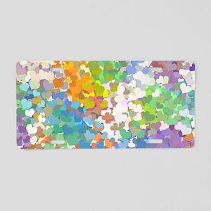 Pastel Confetti Hearts Aluminum License Plate