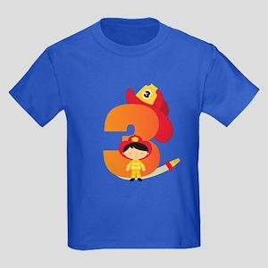 Firefighter 3rd Birthday Kids Dark T-Shirt