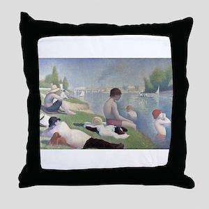 Bathers at Asnieres Throw Pillow