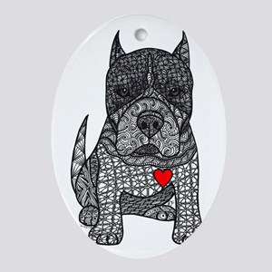 Devotion -American Pitbull Terrier 2 Ornament (Ova