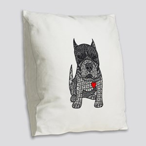 Devotion -American Pitbull Terrier 2 Burlap Throw