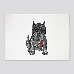 Devotion -American Pitbull Terrier 2 5'x7'Area Rug