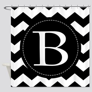Chevron Monogram Letter B Shower Curtain