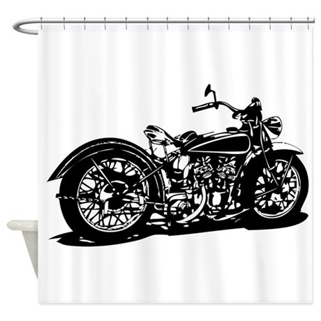 Attractive Vintage Motorcycle Shower Curtain