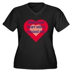 Share Your Heart Women's Plus Size V-Neck Dark T-S