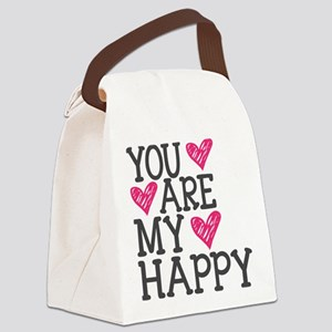You Are My Happy Love Canvas Lunch Bag
