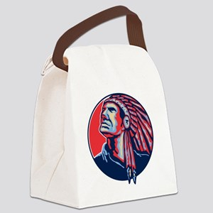 Native American Indian Chief Retr Canvas Lunch Bag