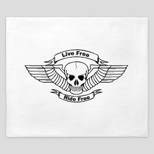 Live Free Ride Free Wings Skull King Duvet