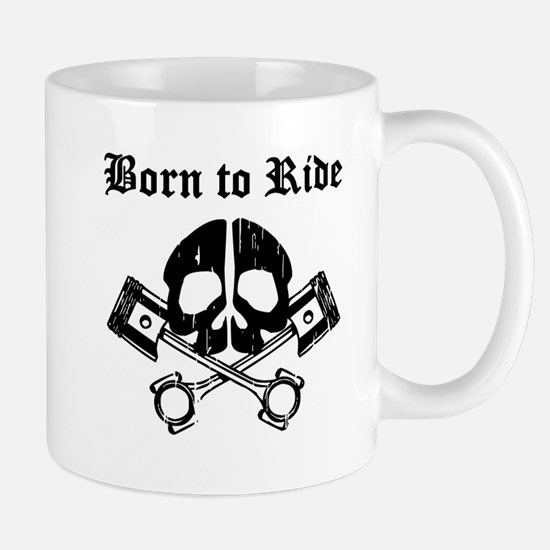 Born To Ride Biker Skull Mugs