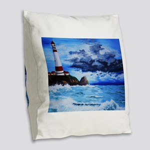 crashing waves Burlap Throw Pillow
