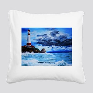 crashing waves Square Canvas Pillow