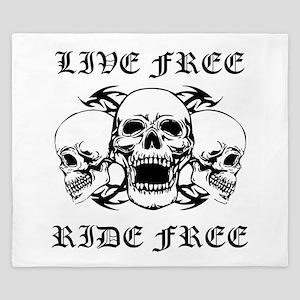 Live Free Ride Free Three Skulls King Duvet