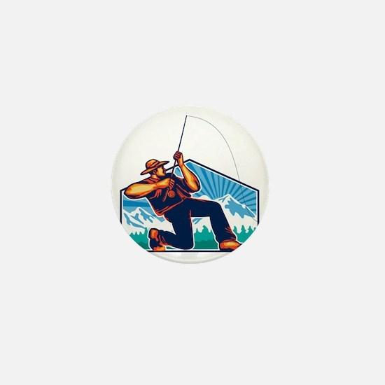 Fly Fisherman Reeling Fishing Rod Retr Mini Button