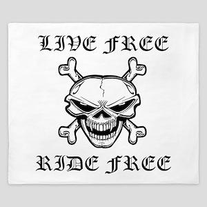 Live Free Ride Free Skull King Duvet