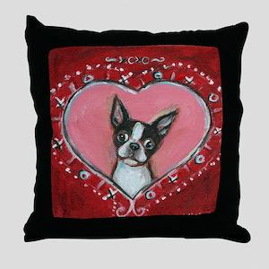 Boston Terrier Valentine xoxo Throw Pillow