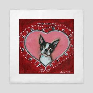 Boston Terrier Valentine xoxo Queen Duvet