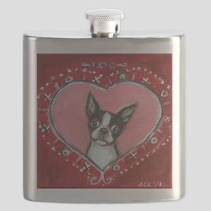 Boston Terrier Valentine xoxo Flask