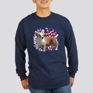 Corgi Patriotic Long Sleeve Dark T-Shirt