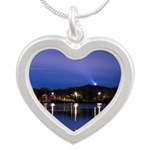 Lake at night Silver Heart Necklace