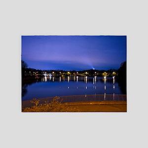Lake at night 5'x7'Area Rug