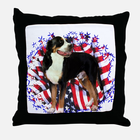 Swissy Patriotic Throw Pillow
